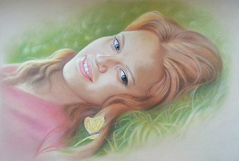 Настоящий портрет пастелью для любимой девушки , просто и со вкусом!