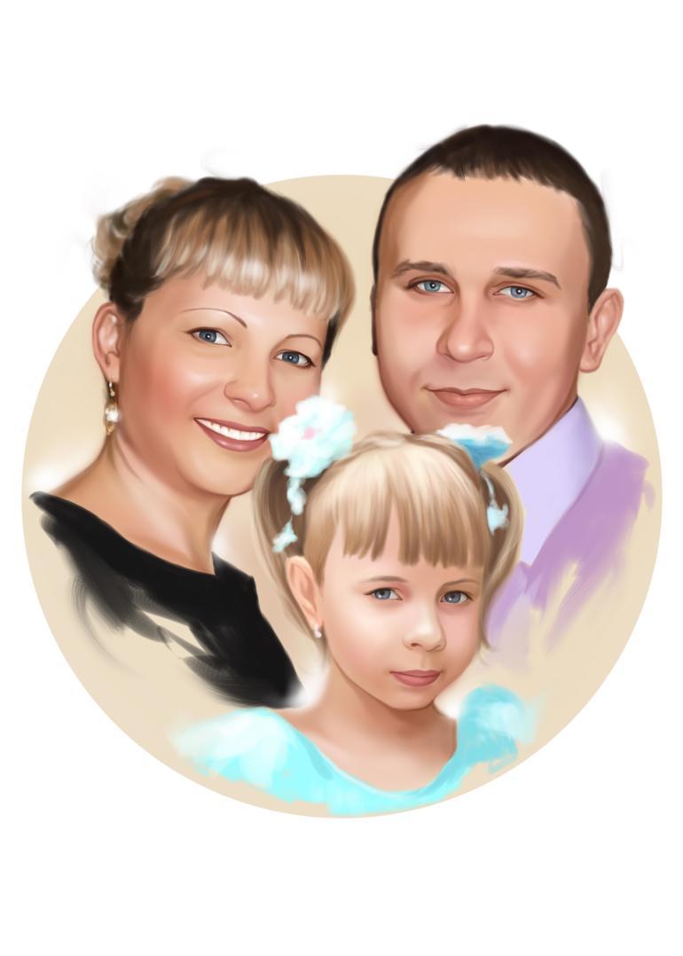 Семейный портрет по фото на холсте  — правильный подарок!